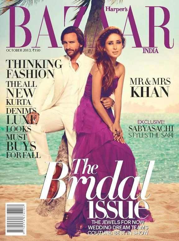 Kareena And Saif On The Cover Of  Harpers Bazaar India October 2013