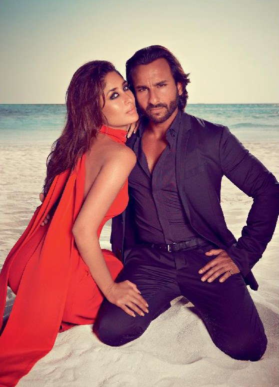 Kareena And Saif Sizzling And Sexy Sea Beach Photo Shoot For Harpers Bazaar Oct 2013
