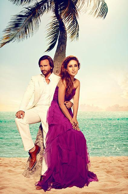 Sweet Couple Kareena And Saif Sa Beach Hot Photo For Harpers Bazaar 2013