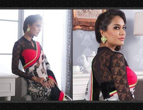 Lisa Haydon Wore A Sleevefull Blouse For For Indian New Designed Saree Photo Shoot