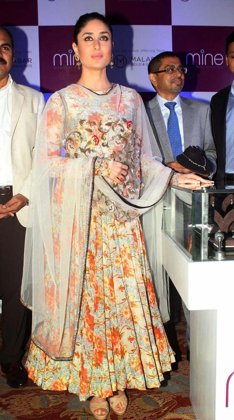 Kareena Looking Beautiful In A Floral Anarkali Suit And Sheer White Dupatta