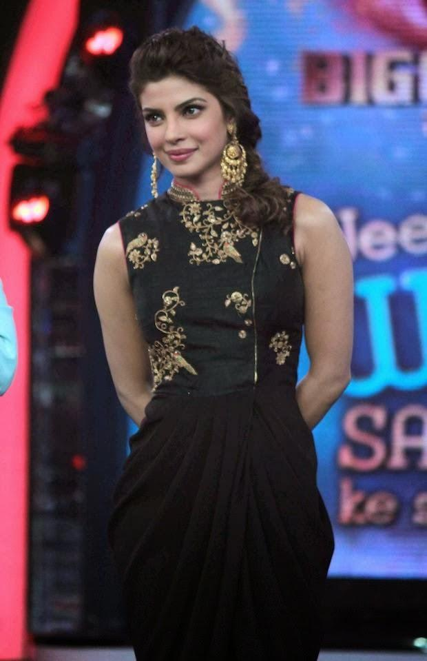 Priyanka Gorgeous Beautiful Look On The Sets Of Bigg Boss 7 During The Promotion Of Krrish 3 Movie