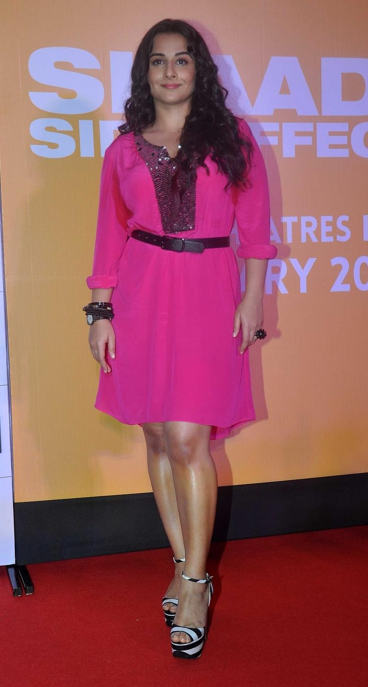 Vidya Gorgeous In A Pink Dress With Animal Print Shoes During Trailer Launch Of Shaadi Ke Side Effects Movie