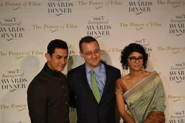 Aamir And Kiran At America Abroad Media's 2013 Inaugural Awards Gala Dinner