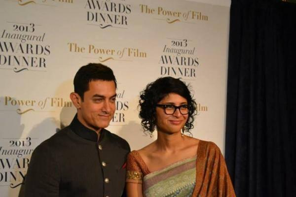 Aamir and Kiran Rao Pose For Camera At America Abroad Media's 2013 Inaugural Awards Gala Dinner