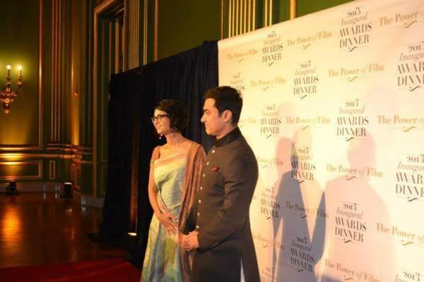 Aamir With Wife Kiran At America Abroad Media's 2013 Inaugural Awards Gala Dinner in Washington