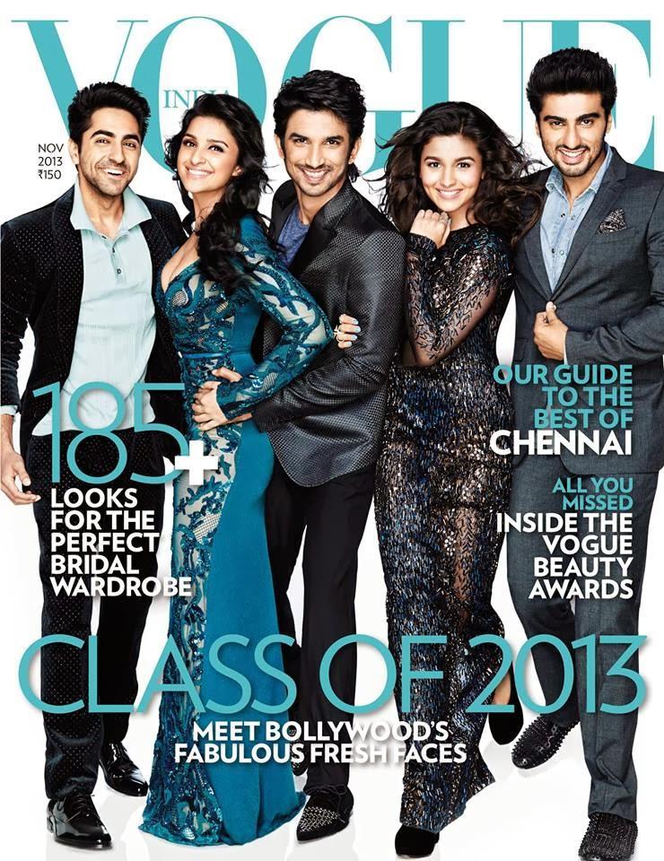 Ayushmann, Parineeti, Sushant, Alia  And Arjun Cover Vogue India's November 2013 Issue