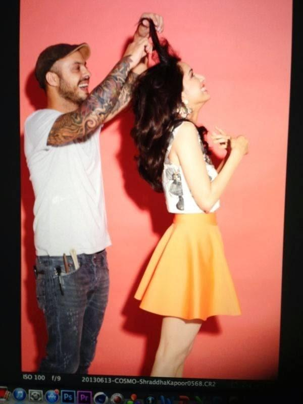 Daniel Bauer Make The Hair Style Of Shraddha Kapoor On The Sets Of Cosmopolitan Magazine Cover Shoot