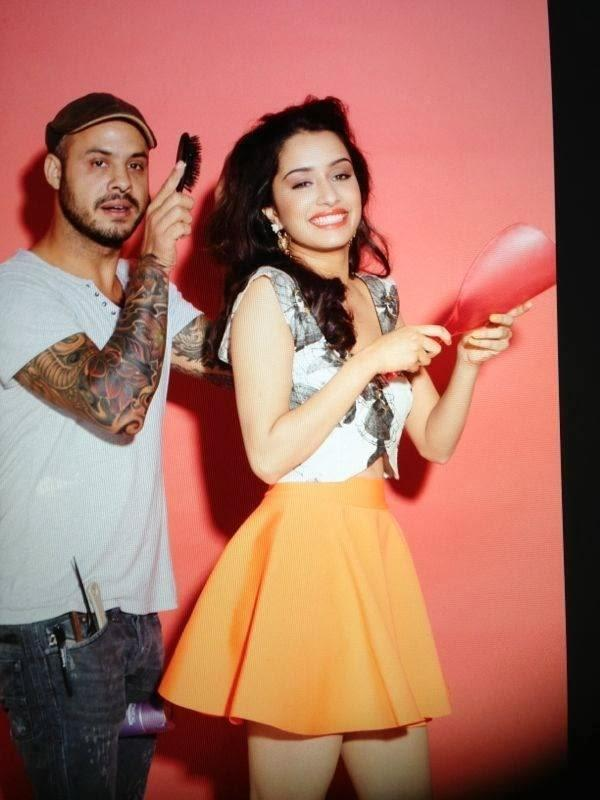 Shraddha And Make Up Artist Daniel Bauer Cool Look On The Sets Of Cosmopolitan Magazine Cover Shoot