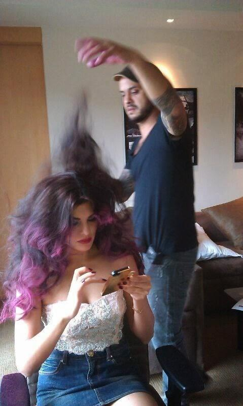 Daniel Bauer Makes The Hair Style Of Jacqueline Fernandez For Halloween Party