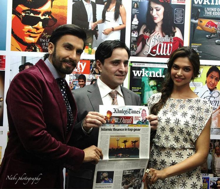Ranveer And Deepika Graced At Khaleej Times Office In Dubai For Promoting Ram-Leela