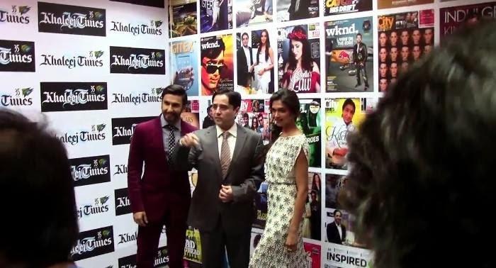 Ranveer And Deepika At Khaleej Times Office In Dubai For Promoting Ram-Leela