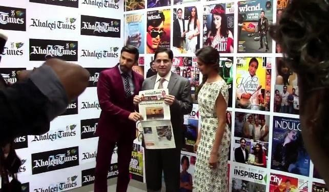 Ranveer And Deepika Promotes Their Movie Ram-Leela At Khaleej Times Office In Dubai