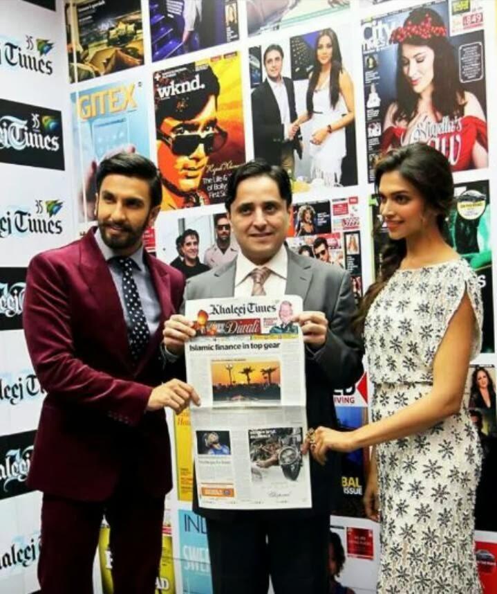 Ranveer And Deepika Promoting Ram-Leela Movie At Khaleej Times Office In Dubai