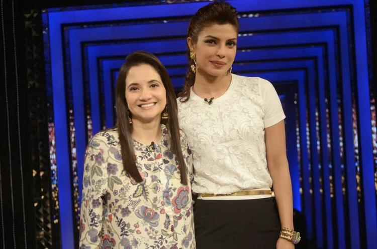 Anupama Chopra And Priyanka Chopra Cool Look For Camera On The Sets Of The Front Row Show