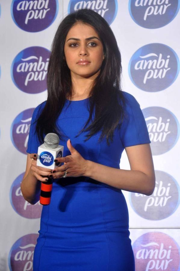 Genelia Cute Face Look Still At The Launch Refresh Your Love Campaign By Ambi Pur