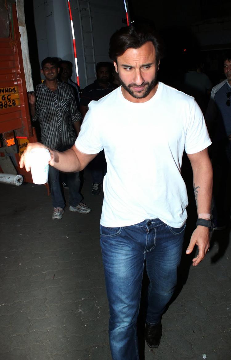 Saif Ali Khan At Mehboob Studios Mumbai For Promoting Bullet Raja