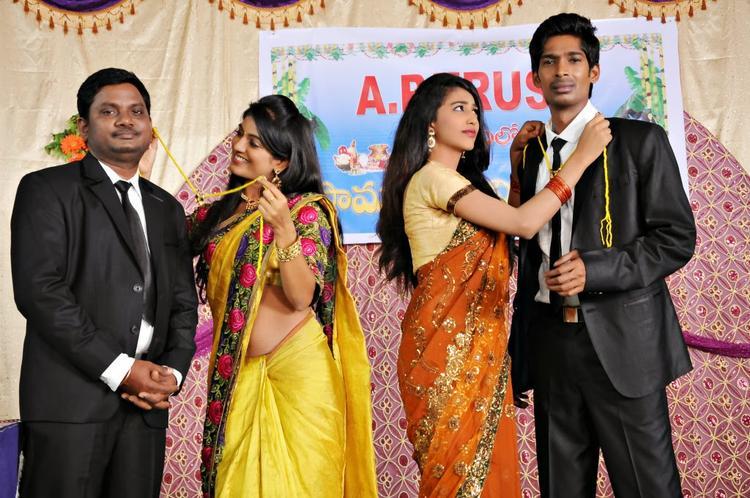 Dhanraj,Ramesh,Sri Bhoomika And Karina A Still From AK Rao PK Rao Movie