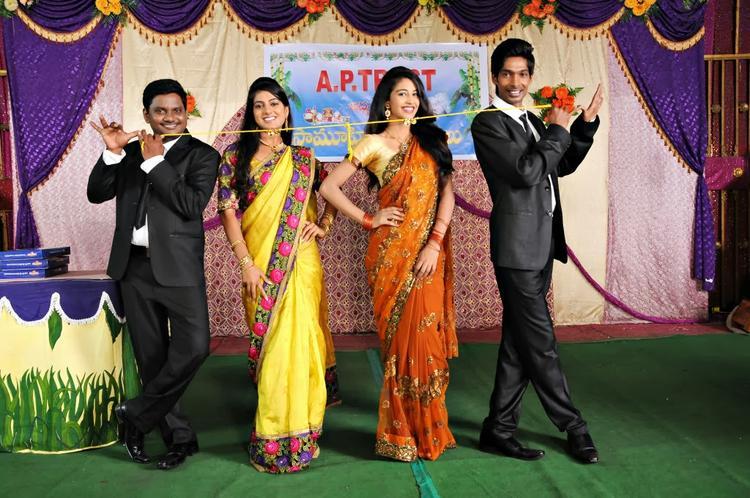 Dhanraj,Ramesh,Sri Bhoomika And Karina A Still From New Movie AK Rao PK Rao