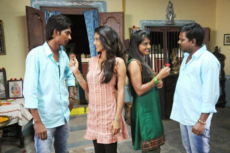 Karina And Bhoomika Propose Still From AK Rao PK Rao Tollywood Movie