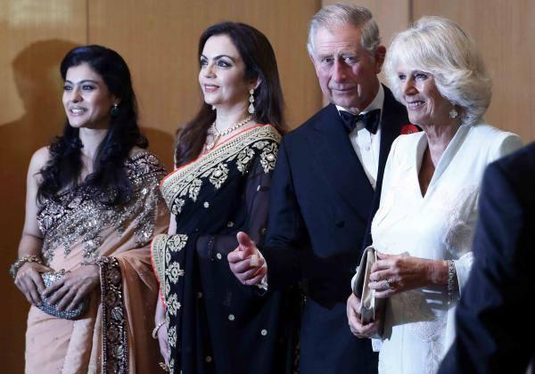 Kajol,Nita,Prince Charles And Camilla Pose For Camera At A Reception For The British Asian Trust