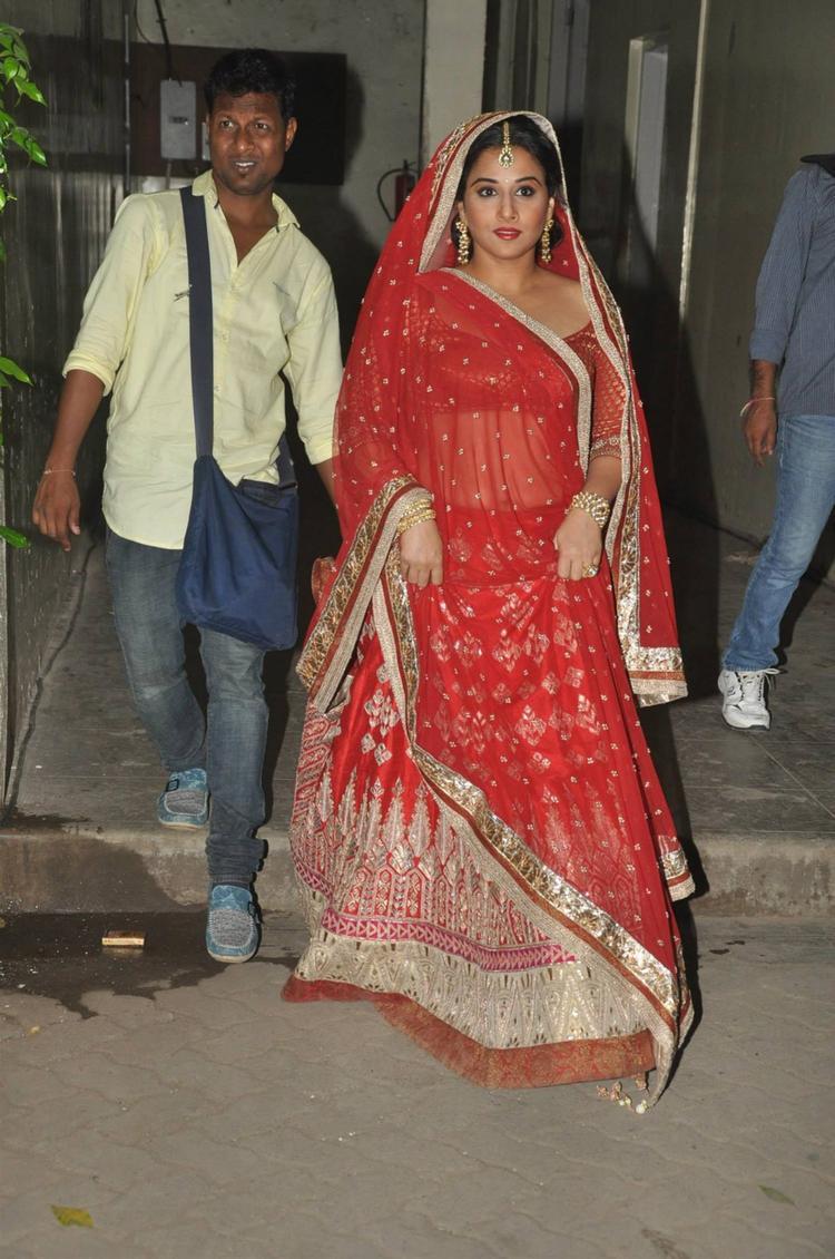 Vidya Balan In Red Lehenga Glamour Look On The Sets Of Ranka Jewellers Ad Film
