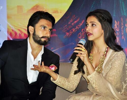 Deepika Addresses The Media And Ranveer Looks On During The Promotion Of Ram-Leela At Kolkata