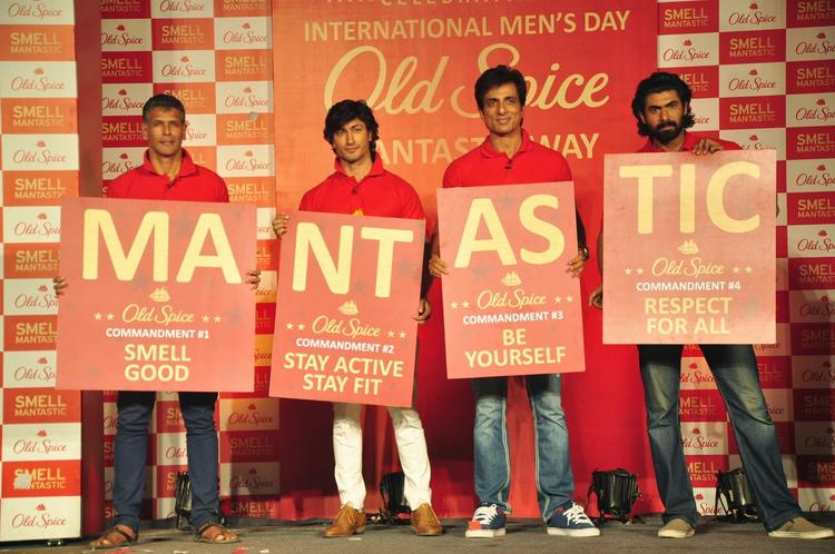 Milind,Vidyut,Sonu And Rana Displaying The Slogan Of The New Range Of Old Spice Deodorants, 'MANTASTIC'