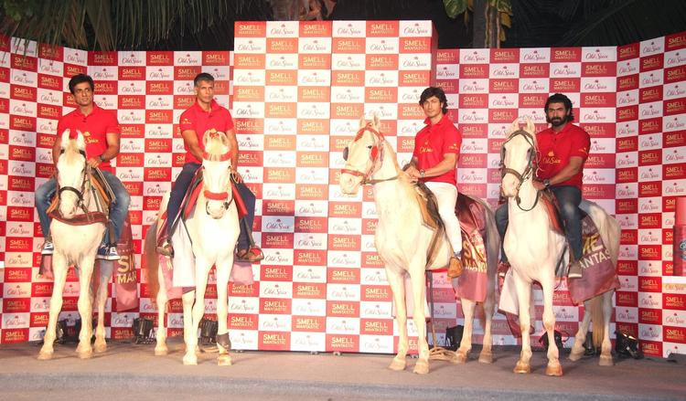 Sonu,Milind,Vidyut And Rana Entering The Stage Riding On Horses During The Launch Of Old Spice's Smell Mantastic Deodorant