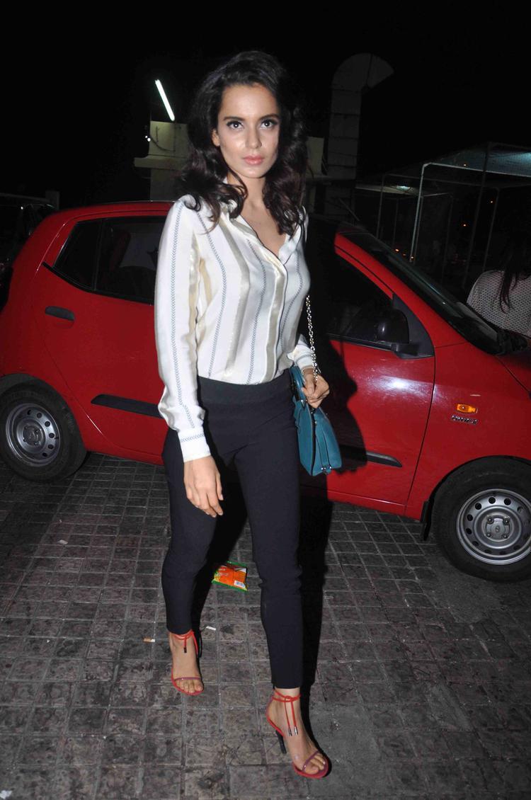 Kangana Ranaut  Snapped At Gori Tere Pyaar Mein Special Screening In Mumbai