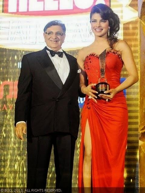 Dr.Cyrus Poonawalla With Actress Priyanka Chopra At Hello! Hall Of Frame Awards 2013