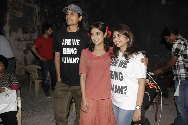 Nagesh,Elahe And Monali During The Lakshmi Movie Music Video Shoot