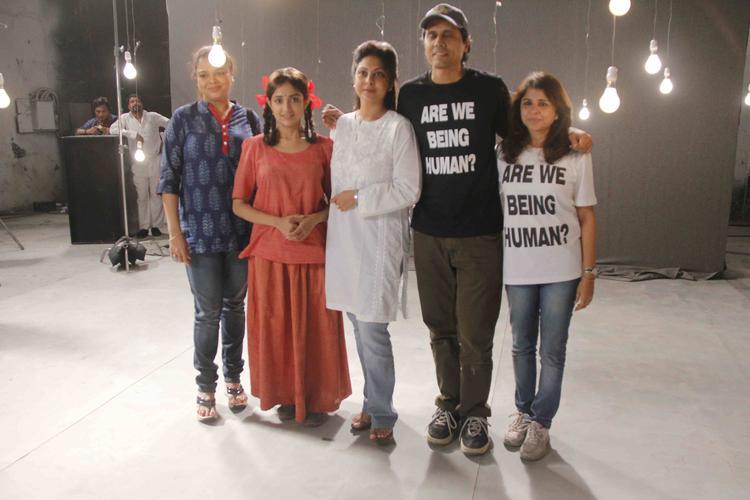 Nagesh,Monali,Shefali,Elahe Pose During The Lakshmi Movie Music Video Shoot