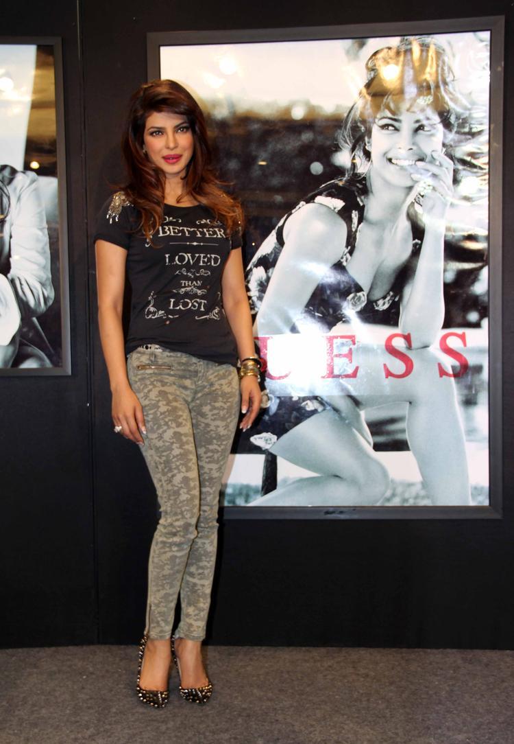 Priyanka Slim Body Exposing Still At Campaign New Collection Of Guess