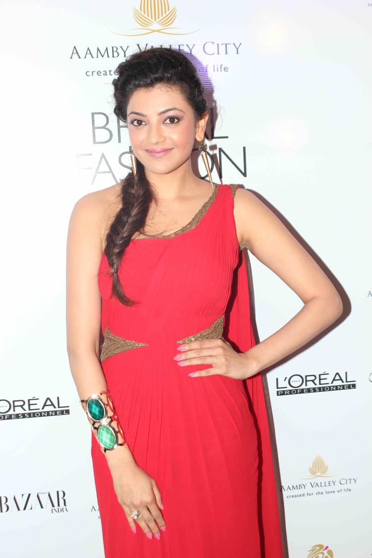 Kajal Aggarwal Opted For A Bright Red At India Bridal Fashion Week 2013 Day 2 Gourav Gupta Show