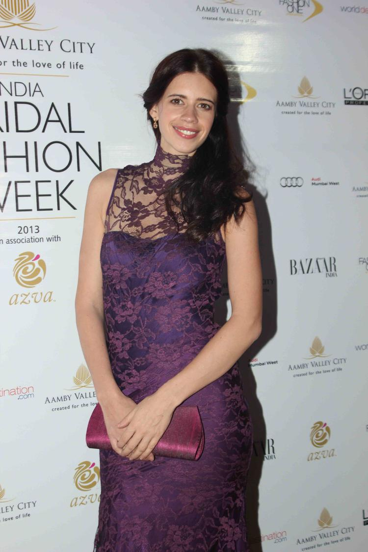 Kalki Koechlin Smiling Charming Look At India Bridal Fashion Week 2013 Day 2 Gourav Gupta Show
