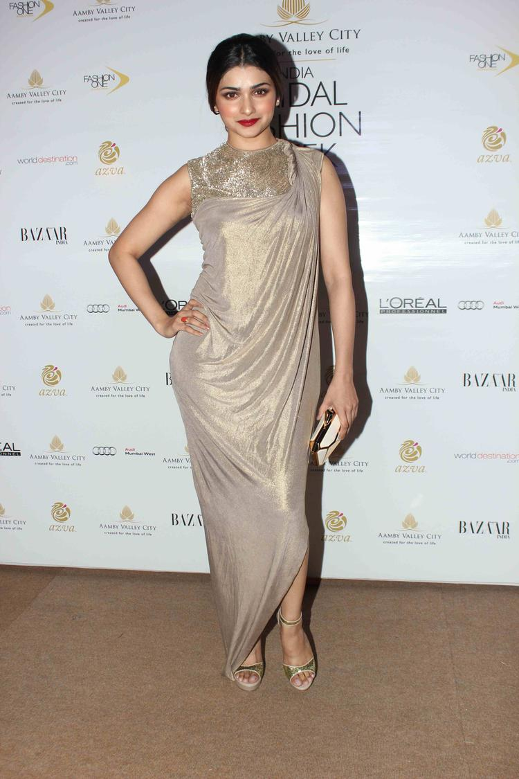 Prachi Desai Stylish Pose On Day 2 At India Bridal Fashion Week 2013 Gourav Gupta Show