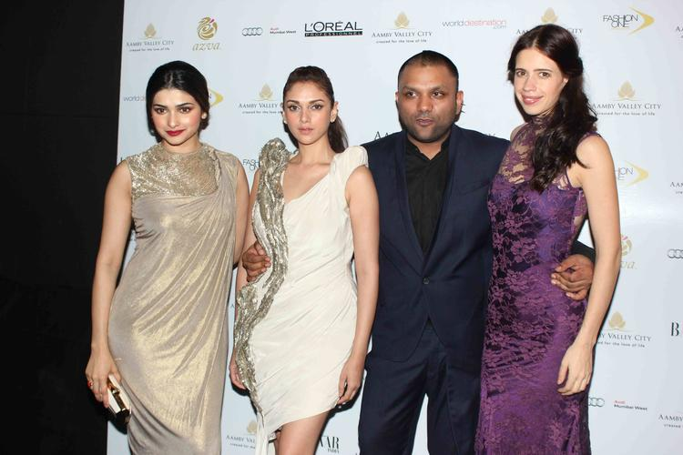 Prachi,Aditi And Kalki Posed With Designer Gourav Gupta At India Bridal Fashion Week 2013 Day 2