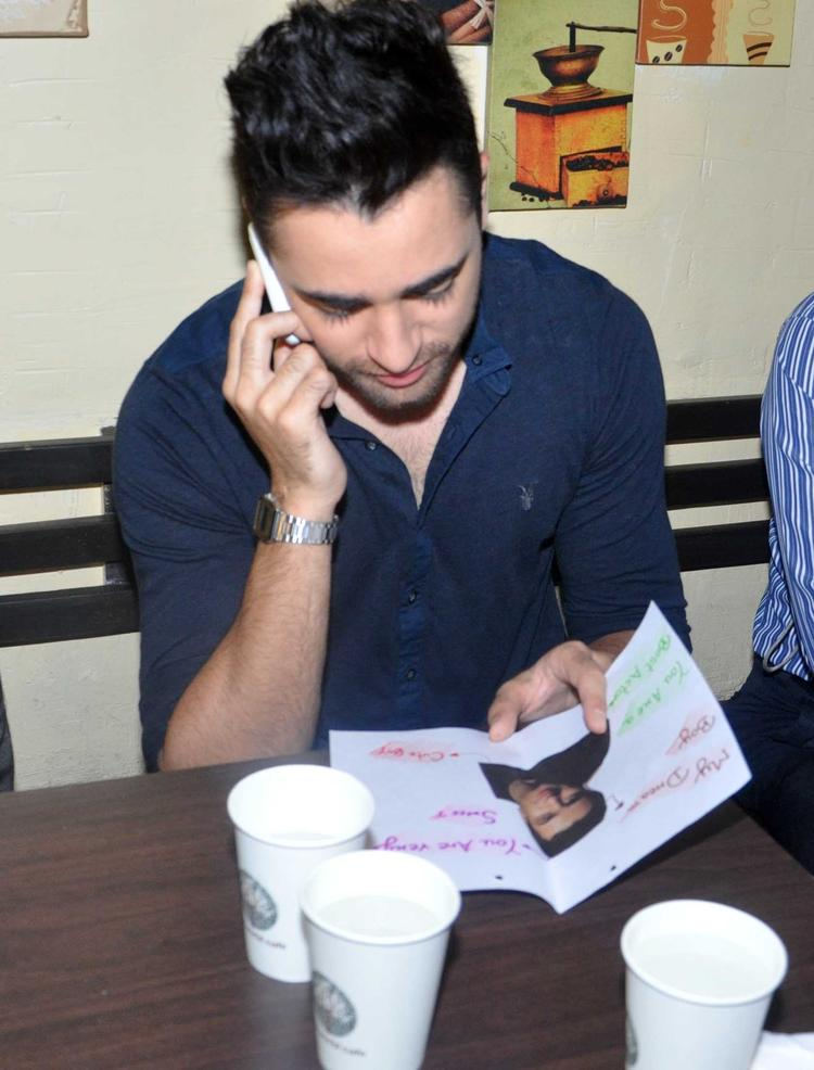 Imran Khan Busy With Phone During The Bru Gold Coffee Bean Promotional Event