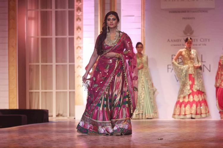 Actress Huma Qureshi Walked The Ramp For Designer Duo Ashima-Leena At The Aamby Valley India Bridal Fashion Week