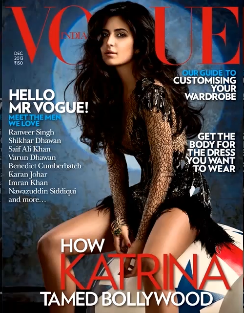 Katrina Kaif Nice Hot Pose On The Cover Of Vogue December Magazine