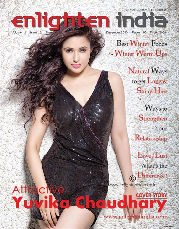 Yuvika Chaudhary In Short Black Dress Sizzling Look On The Cover Of Enlighten India Magazine December 2013 Issue