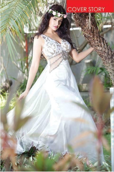 Yuvika Chaudhary In White Gown Fashionable Look Photo Shoot For Enlighten India December 2013 Issue