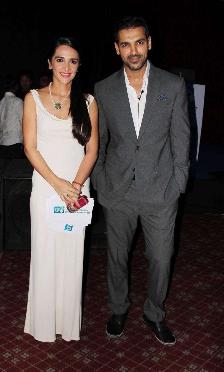 John Abraham And Tara Sharma Nice Pose At The SCMM Press Conference