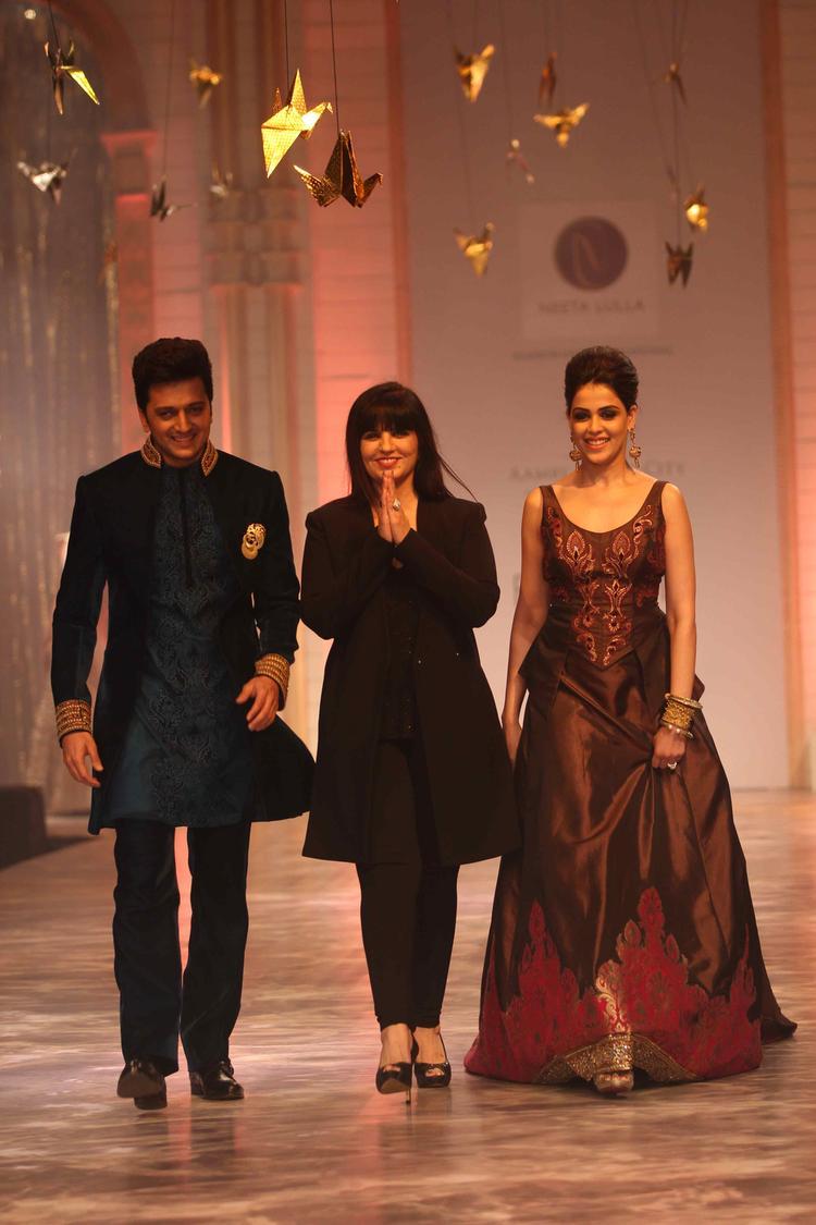 Riteish And Wife Genelia Walk Ramp With Designer Neeta On Day 6 At IBFW 2013 Neeta Lulla Show