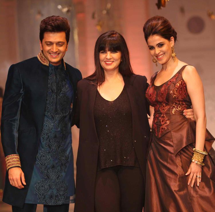 Riteish,Designer Neeta And Wife Genelia Posed On Ramp On Day 6 At IBFW 2013 Neeta Lulla Show