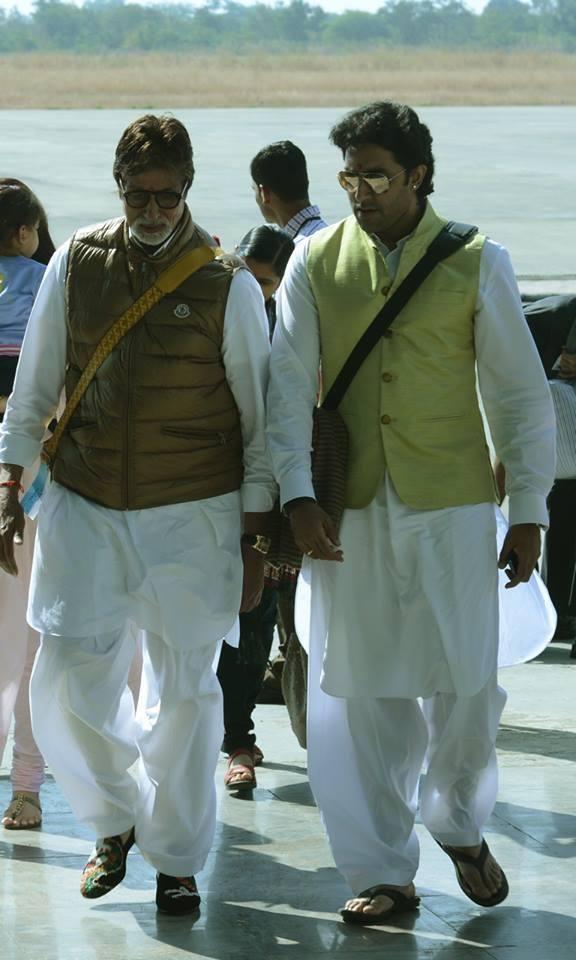 Amitabh And Abhishek At Jaya's Nephew's Wedding In Bhopal