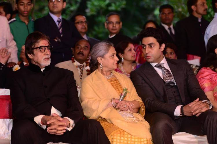 Amitabh,Abhishek And Jaya Attend Jaya Nephew's Wedding