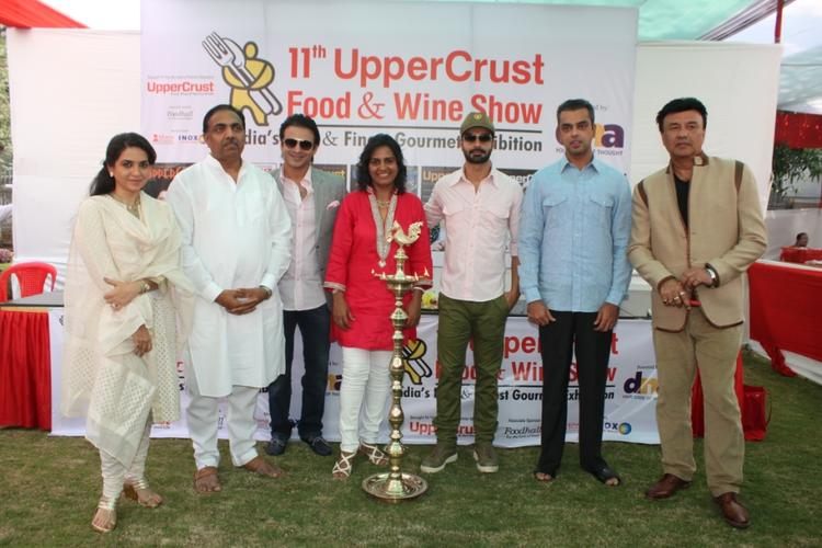 Shaina,Jayant,Vivek,Farzana,Ashmit,Milind And Annu Light The Lamp At The Launch Of Uppercrust Food And Wine 2013 Show