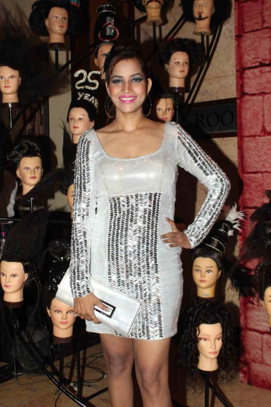 Smiling Tanisha Singh In Short Dress Fashionable Look At 25th Anniversary Celebration Of Shiva's Saloon And Academy